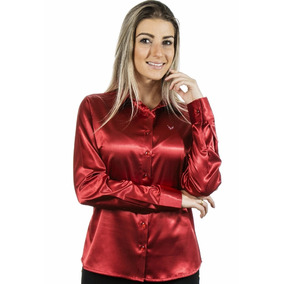 ca16ceee93 Camisa Feminina Albertina - Cetim C  Elastano-pimenta Rosada