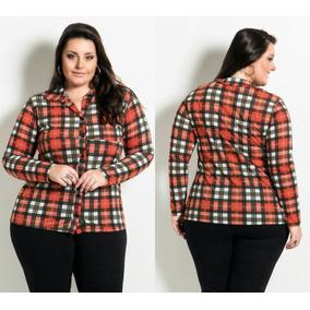c72e88c325 Camisa Xadrez Flanela Feminina Plus Size - Calçados