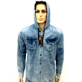7c937f4eebbe3 Camisa Jeans Infantil Capuz 1 Ao 16 Azul Bebe Cordão