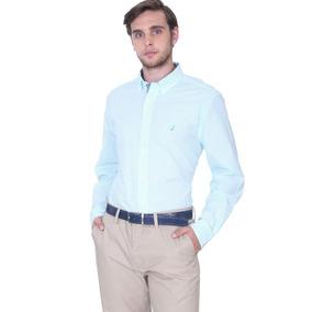 e0217c1b704f0 Nautica Camisa Hombre Blanca Verde - Rayas Talla M