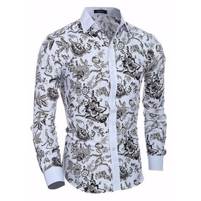 63834f7a35cdc Camisa Casual Moderna Com Desenhos Tribais Branca - Camisas no ...