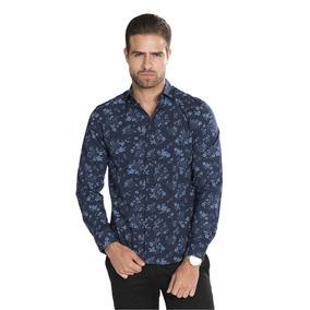 6d0a430cb0aed Camisa Hombre Floreada Azul Marino Slim Fit Estampada B85314
