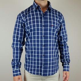0c9ff1209a Camisa Xadrez Slim Luxo - Camisa Social Manga Longa Masculinas Azul ...