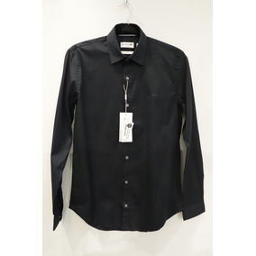 99789c3644ef9 Camisa Lacoste Manga Longa Slim Fit Preta
