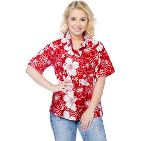 c315d33fd4a9a Camisa Hawaiana La Leela D playa Abotonada P mujer Rojo