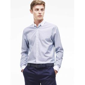 36cf3f13d4f Camisa Lacoste De Vestir En Cuello Italiano A Rayas Y Cuadro