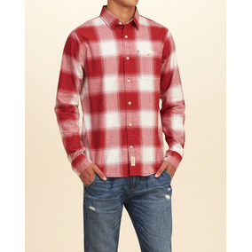 93fbd633761c5 Camisa Xadrez Masculina Hollister Vermelha Importada Origina