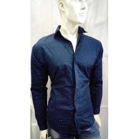 1d7b53e7ff Camisa Hombre Azul Satin - Camisas Casuales Manga Larga de Hombre XS ...