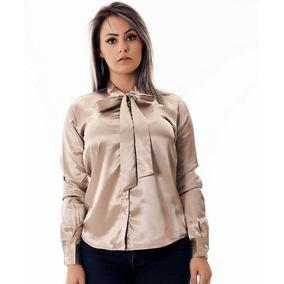 ca8f6c9ead24e Camisa Social Feminina De Cetim Com Laço Manga Longa Moda - Calçados ...