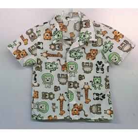 d33ecbc35d Camisa Social Manga Curta Infantil Safari