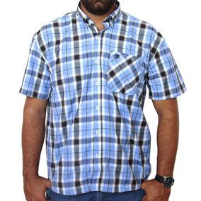 923fa1f6e Camisa De Manga Curta Wrangler Original Xadrez Azul Wrl8004