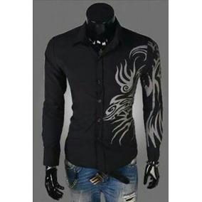 6aa86d3442bf4 Camisa Casual Moderna Com Desenhos Tribais Preta Manga Curta ...