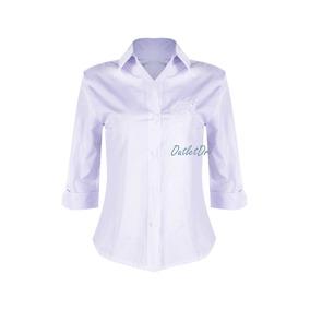ca35df4b9 Camisa Social Feminina Manga 3 4 Cor Branca Risca De Giz - Calçados ...