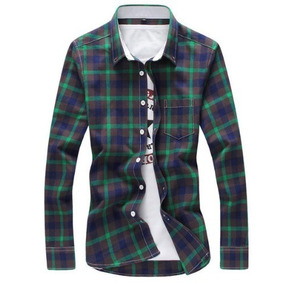 ed737136f Camisa Xadrez Masculina - Camisa Social Manga Longa Masculino Verde ...