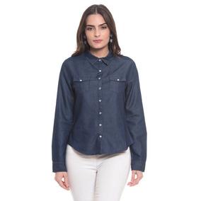 3d665b8a62 Camisa Jeans Escuro Feminina Duda Pink Blue 215365