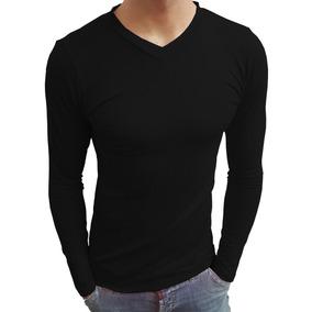 a8814ca5fa Camisa Camiseta Gola V Rasa Masculina Viscolycra Manga Longa