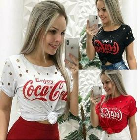46ef8a4d32 Blusa Blusinha Coca-cola Feminina Furadinha Bolas Enjoe 2018