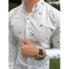 bedb862aef083 Camisa Slim Fit Blanca Tomates Moon   Rain Tiendas Platino