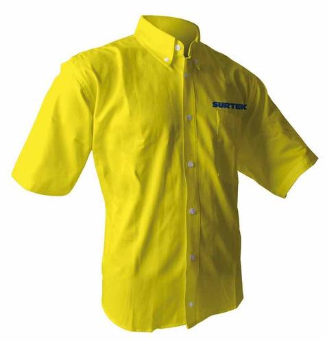 camisas amarillas manga corta hombre surtek camc101cm hm4