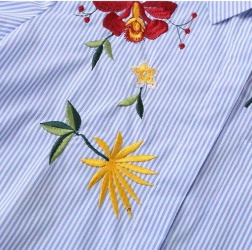camisas celestes rayadas bordadas importadas