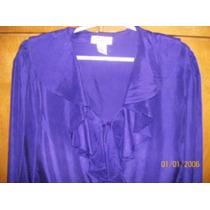 Camisa De Microfibra, Cuello C/volados.