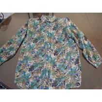 Blusa De Gasa Transparente C/ Flores En Violeta Y Verde, T48