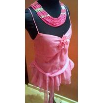 Blusa Gasa Rosa Zara Con Volados Y Lazo / Unica
