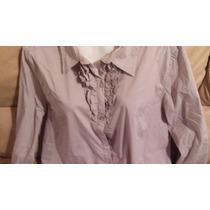 Blusa Camisa De Licra Talle L Entallada Con Volado Dama Nuev