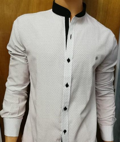 camisas cuello mao lunares estampados slim fit  di varezzi
