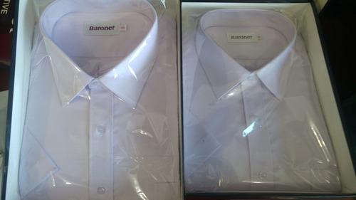 camisas de vestir baronet colores celeste y lila manga corta