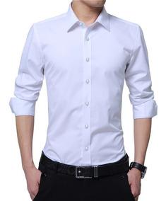Camisas Entalladas De Vestir Hombres Slim Fit Moda 2019