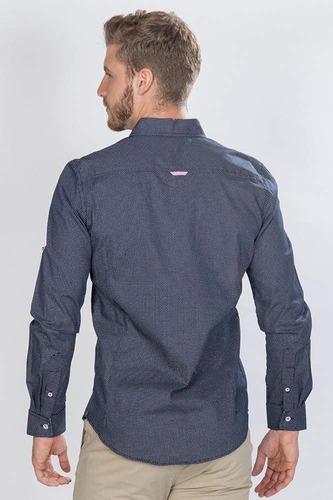 camisas hombre slim fit casuales manga larga algodon