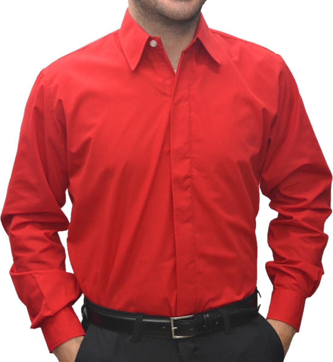 5fa7e741b5351 Camisas Hombre Vestir Roja Calidad Real -   689