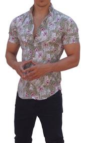 df907023d Camisas John Leopard Manga Corta Plantas Flor Morada Slim Fi