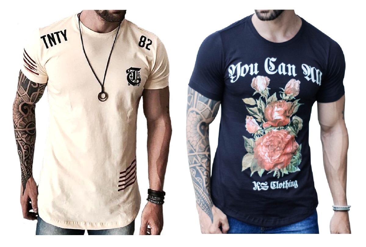 8a6c5d13b Camisas Longline Camisetas Estilosas Com Barra Redonda Swag - R  179 ...