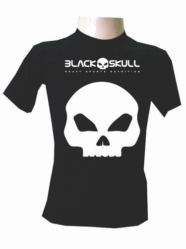 camisas manga curta black skull academia musculação fitness