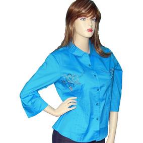 b59e64d65c2e1 Blusas Camisas Manga 3 4 Para Mujer Blusas Unicolor Botones
