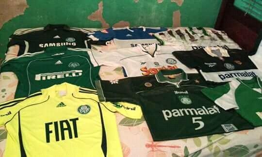 02b180f1ec094 Camisas Originais Do Palmeiras.usadas .da Era Parmalat. - R  150