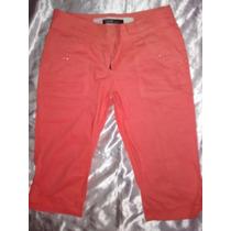 Pantalon Capri Snicker Chavito Coral Y Beige Talla 28 Usados