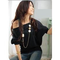 Fashion Blusa Polo Cuello Al Hombro Cotton Strech S-m-l-xl