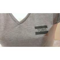 Toms Polo Dama Mujer - Cuello V - Manga Corta - Gris