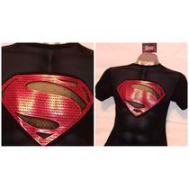 Polos Licrados Estampados De Superman Tallas Xs-s-m-l-xl