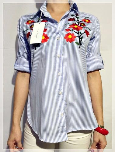 camisas rayadas bordadas con flores - importadas - zara.