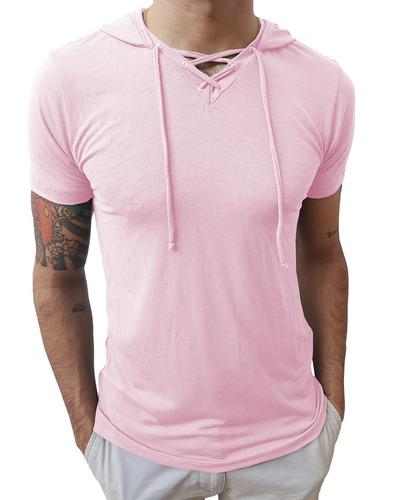 camisas slim gola v rasa capuz cordão masculina manga curta