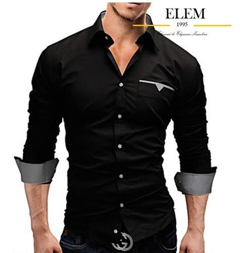 camisas sport hombre elegante fit slim mod016