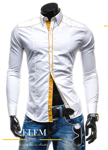 camisas sport hombre elegante slim fit mod005