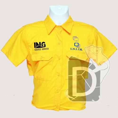 camisas tipo columbia, uniformes, bordados, confección.