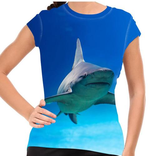 camiseta acqua tubarão blue baby look