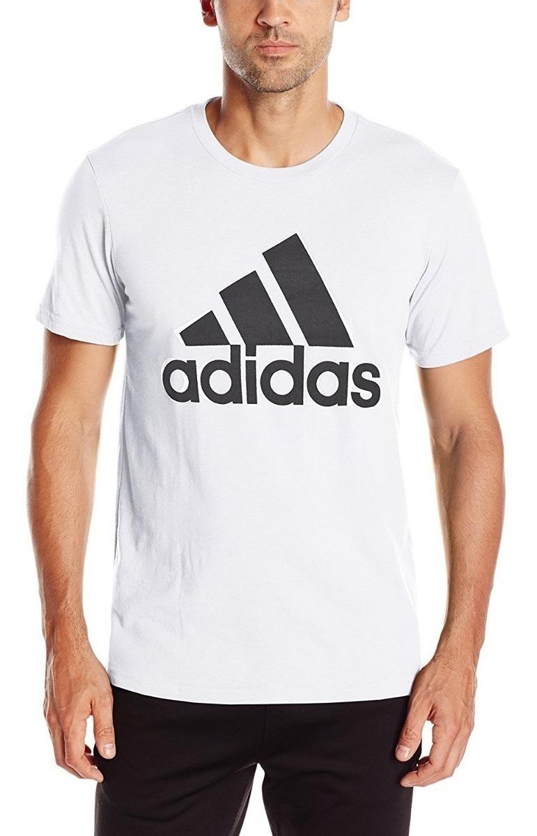 Camiseta adidas Blanca Con Negro Deportiva Moderna Hombre C4