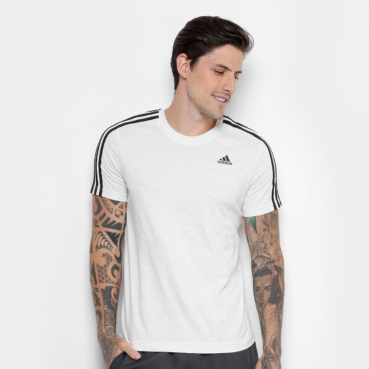 3f068b74a3b camiseta adidas ess 3 stripes masc- branco original c nfe. Carregando zoom.
